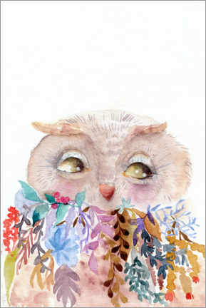 Canvastavla  Owl with flowers - Daria NovArt