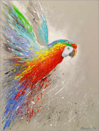Canvastavla  Parrot in flight - Olha Darchuk