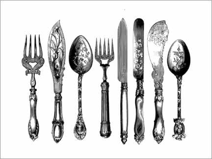 Självhäftande poster  Cutlery - Wunderkammer Collection