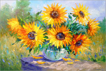 Canvastavla  Bouquet of sunflowers in nature - Olha Darchuk