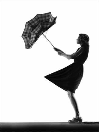 Premiumposter Young woman with an umbrella