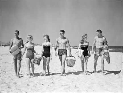 Premiumposter On the beach in the 50s
