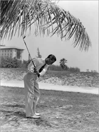 Premiumposter  Golfers under palm trees in Florida, 1930s