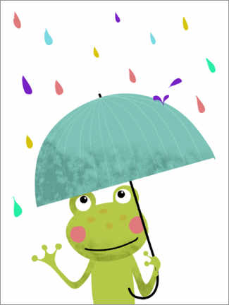 Canvastavla  Frog with umbrella - Heyduda