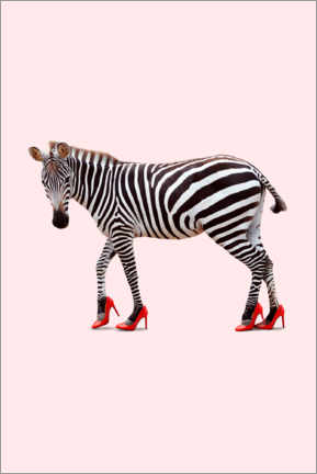 Akrylglastavla  Zebra in high heels - Jonas Loose