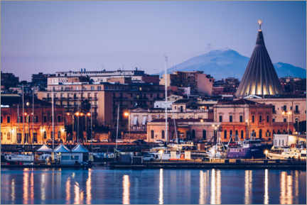 Premiumposter  Syracuse skyline in front of Mount Etna (Sicily, Italy) - Alexander Voss