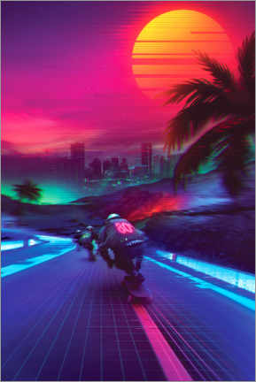 Premiumposter Synthwave Midnight Outrun