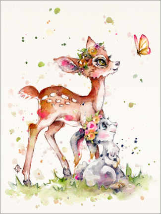 Premiumposter  Fawn and bunny - Sillier Than Sally