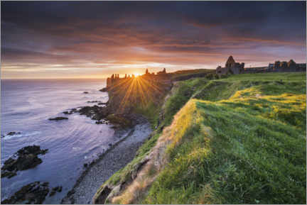 Canvastavla  Castle ruins by the sea in Ireland at sunrise - The Wandering Soul