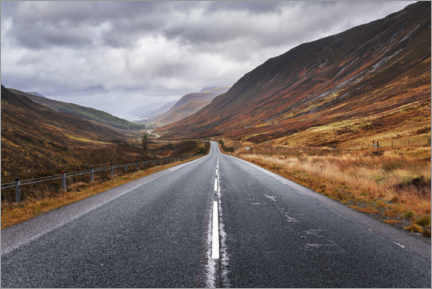 Premiumposter  Endless road in Scotland - The Wandering Soul