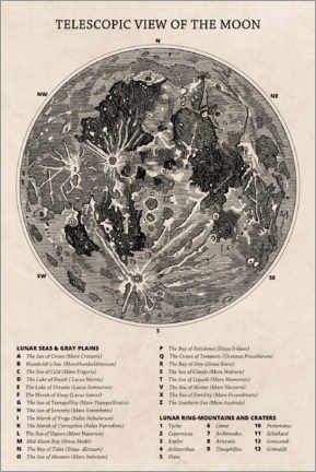 Canvastavla  Moon map (english) - Wunderkammer Collection