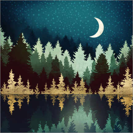 Premiumposter Forest lake under the starry sky