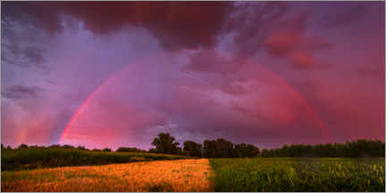 Premiumposter  Rainbow at sunset with lightning - Benjamin Butschell