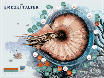 Premiumposter The geological time scale (German)