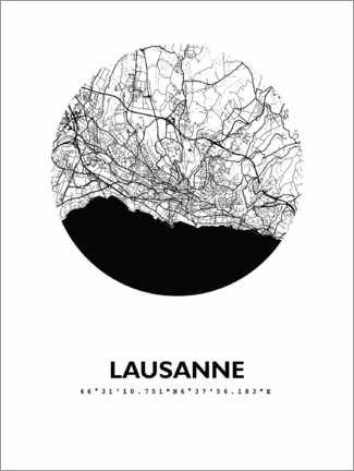 Premiumposter City map of Lausanne