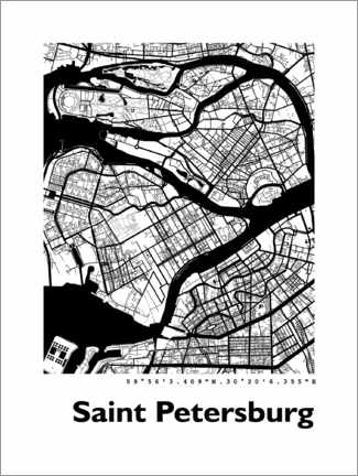Premiumposter  Map of Saint Petersburg - 44spaces
