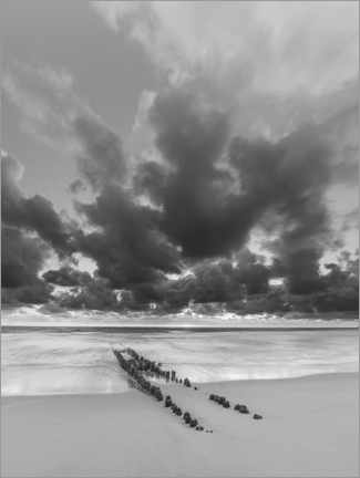 Premiumposter Groyne with clouds, black and white