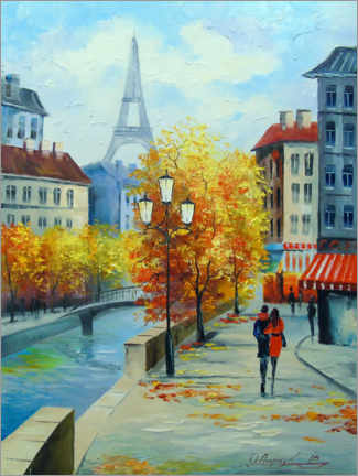 Premiumposter  Autumn in the streets of Paris - Olha Darchuk