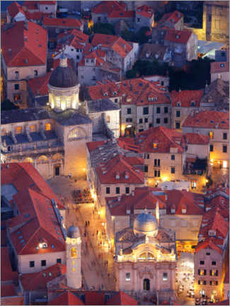 Premiumposter  Luza Square and Cathedral of the Assumption in Dubrovnik, Croatia