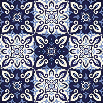 Premiumposter  Pattern in Delft blue style
