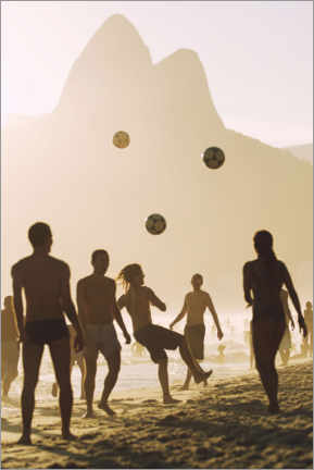 Canvastavla  Beach soccer in the sunset