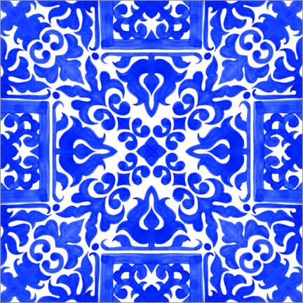 Premiumposter Delft blue tile decor II