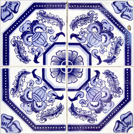 Premiumposter Azulejo royal blue
