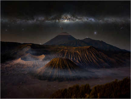 Premiumposter Volcanic landscape with the Milky Way