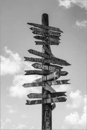 Premiumposter  Signpost in Key West, black and white - Matteo Colombo