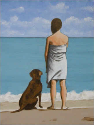 Premiumposter Woman and dog at the beach
