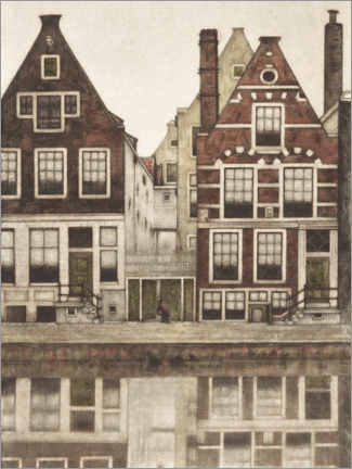 Canvastavla  Houses on the Groenburgwal in Amsterdam - Frans Everbag