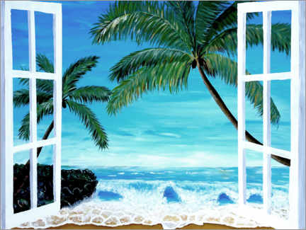 Canvastavla  Window with a view of the Caribbean beach - M. Bleichner