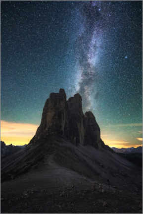 Akrylglastavla  Milky Way over the Three Peaks, Dolomites - Matthias Köstler