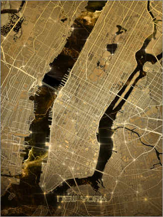 Premiumposter  New york city map gold - Bekim Mehovic