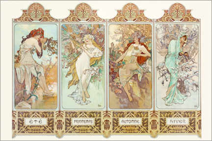Premiumposter  The four Seasons - Alfons Mucha