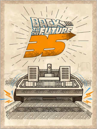 Premiumposter  DeLorean Vintage Illustration