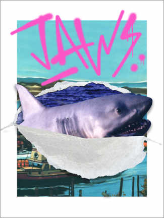 Premiumposter  Jaws - retro collage