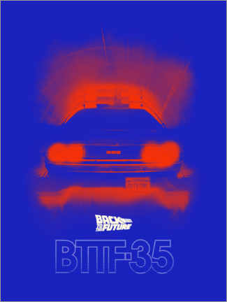 Premiumposter  DeLorean classic blue