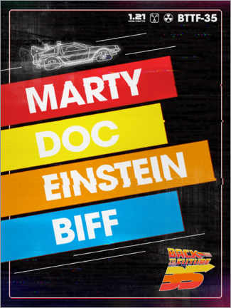 Premiumposter  Marty, Doc, Einstein, Biff