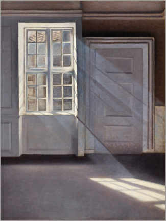 Canvastavla  Dust Motes Dancing in Sunbeams - Vilhelm Hammershøi