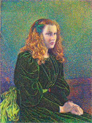 PVC-tavla  Young woman in a green dress, Germaine Maréchal - Theo van Rysselberghe