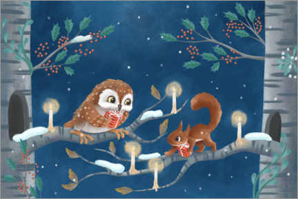 Premiumposter Owl and squirrel exchanging gifts