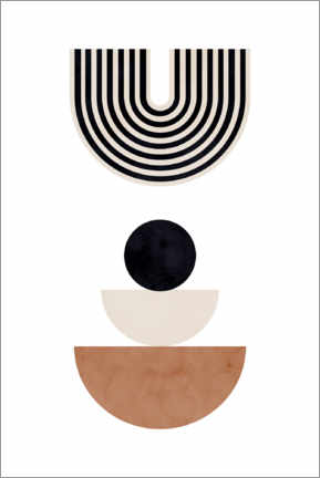 Premiumposter Mid century abstract shape