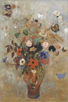 Akrylglastavla  Still life with flowers - Odilon Redon