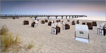 Premiumposter  Pier and beach chairs on Usedom - Andreas Vitting