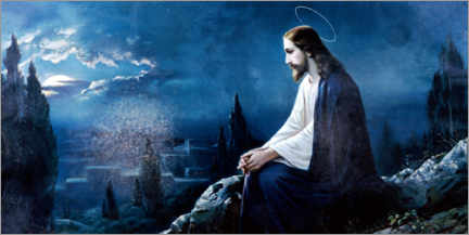 Canvastavla  Jesus sitting on the mount of olives - Dr. Wilfried Bahnmüller