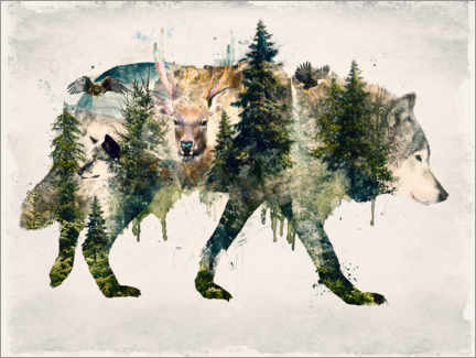 Premiumposter  Walk with wolves - Barrett Biggers