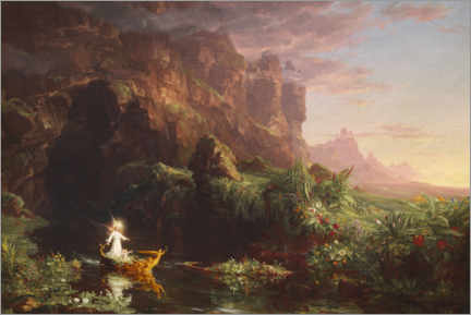 Akrylglastavla  The journey of life, childhood - Thomas Cole