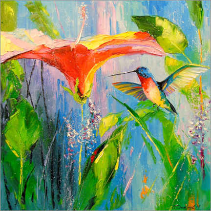 Premiumposter  Hummingbird and flower - Olha Darchuk