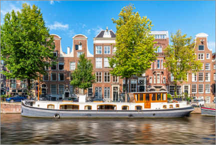 Premiumposter Architecture and boat in the canals of Amsterdam